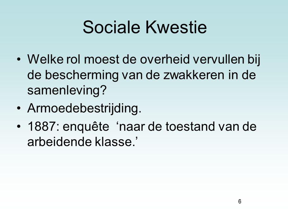 6 Sociale Kwestie Welke rol moest de overheid vervullen bij de bescherming van de zwakkeren in de samenleving? Armoedebestrijding. 1887: enquête 'naar