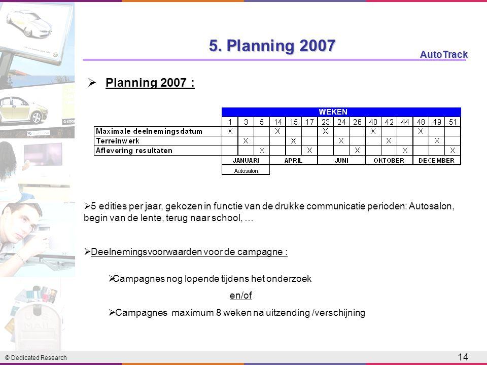 © Dedicated Research AutoTrack 14  Planning 2007 : 5. Planning 2007  5 edities per jaar, gekozen in functie van de drukke communicatie perioden: Aut