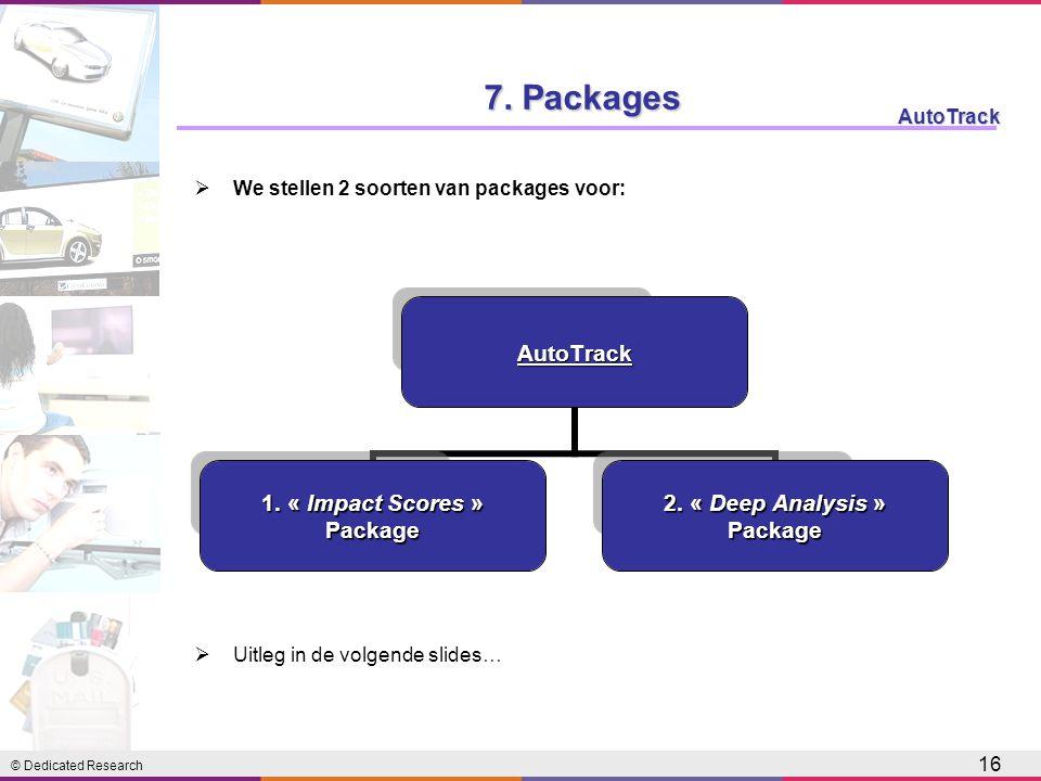 © Dedicated Research AutoTrack 16 7. Packages AutoTrack 1. « Impact Scores » Package 2. « Deep Analysis » Package  We stellen 2 soorten van packages