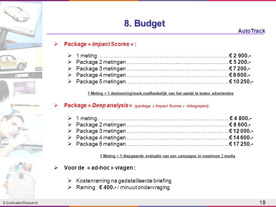 © Dedicated Research AutoTrack 19  Package « Impact Scores » :  1 meting ……….……………………………………………………...€ 2 900.-  Package 2 metingen ………………………..……………………….