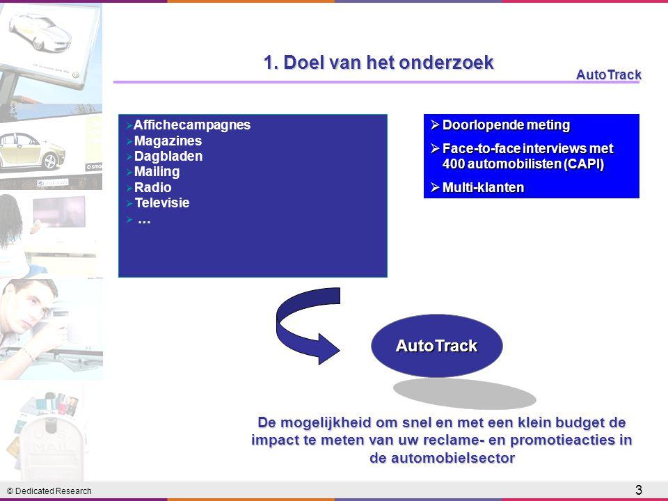 © Dedicated Research AutoTrack 3 1. Doel van het onderzoek  Affichecampagnes  Magazines  Dagbladen  Mailing  Radio  Televisie  … AutoTrack De m