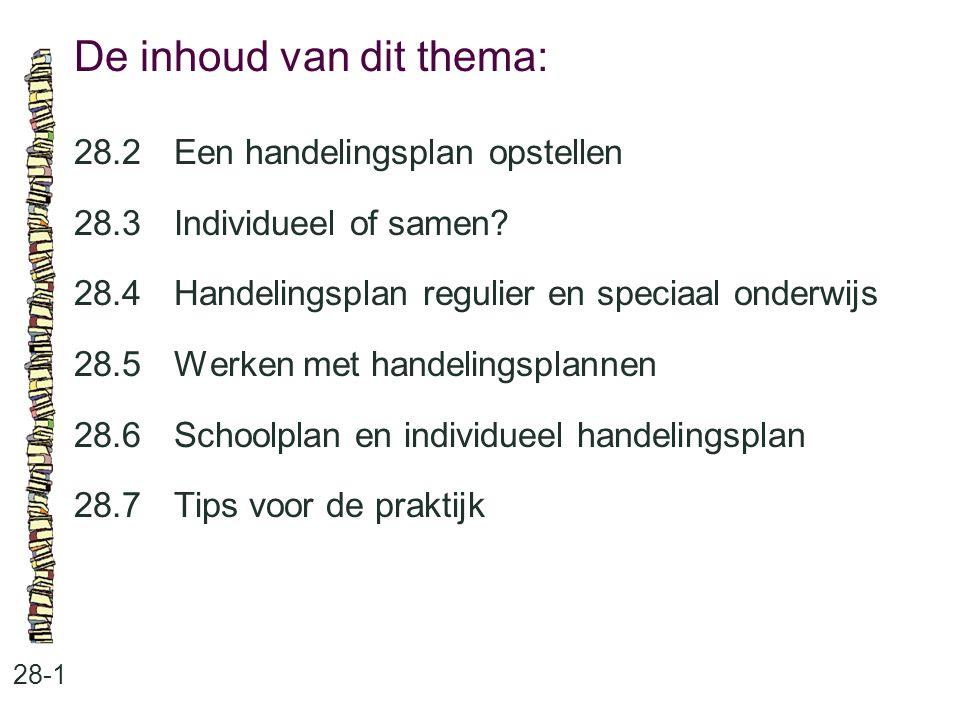 De inhoud van dit thema: 28-1 28.2 Een handelingsplan opstellen 28.3 Individueel of samen? 28.4 Handelingsplan regulier en speciaal onderwijs 28.5 Wer