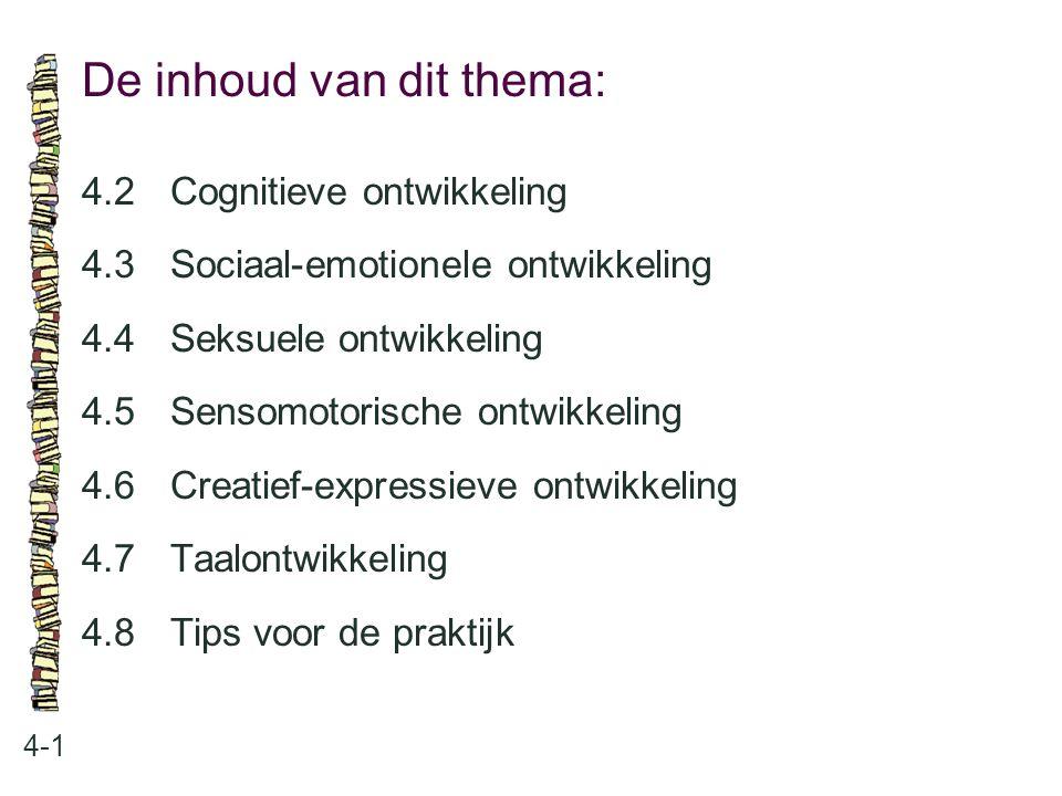 De inhoud van dit thema: 4-1 4.2Cognitieve ontwikkeling 4.3 Sociaal-emotionele ontwikkeling 4.4 Seksuele ontwikkeling 4.5 Sensomotorische ontwikkeling
