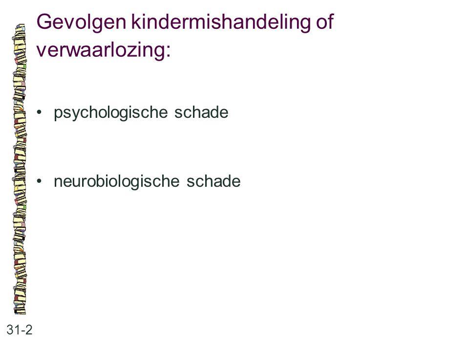 Gevolgen kindermishandeling of verwaarlozing: 31-2 psychologische schade neurobiologische schade