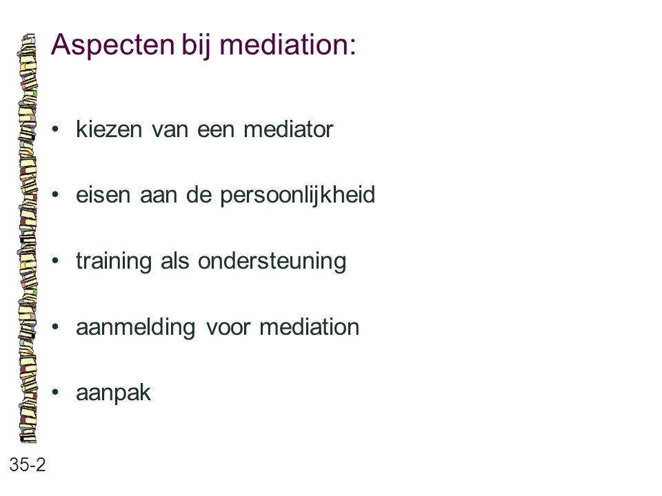 Aspecten bij mediation: 35-2 kiezen van een mediator eisen aan de persoonlijkheid training als ondersteuning aanmelding voor mediation aanpak