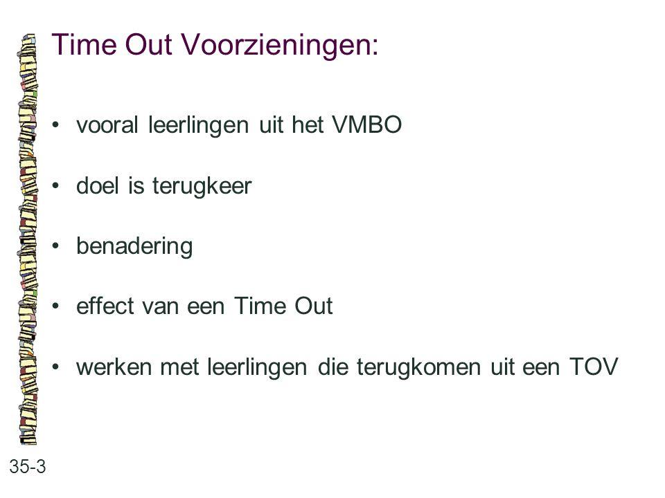 Time Out Voorzieningen: 35-3 vooral leerlingen uit het VMBO doel is terugkeer benadering effect van een Time Out werken met leerlingen die terugkomen