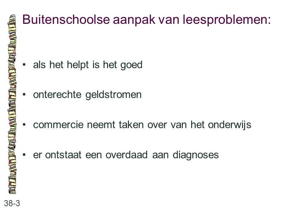Buitenschoolse aanpak van leesproblemen: 38-3 als het helpt is het goed onterechte geldstromen commercie neemt taken over van het onderwijs er ontstaa