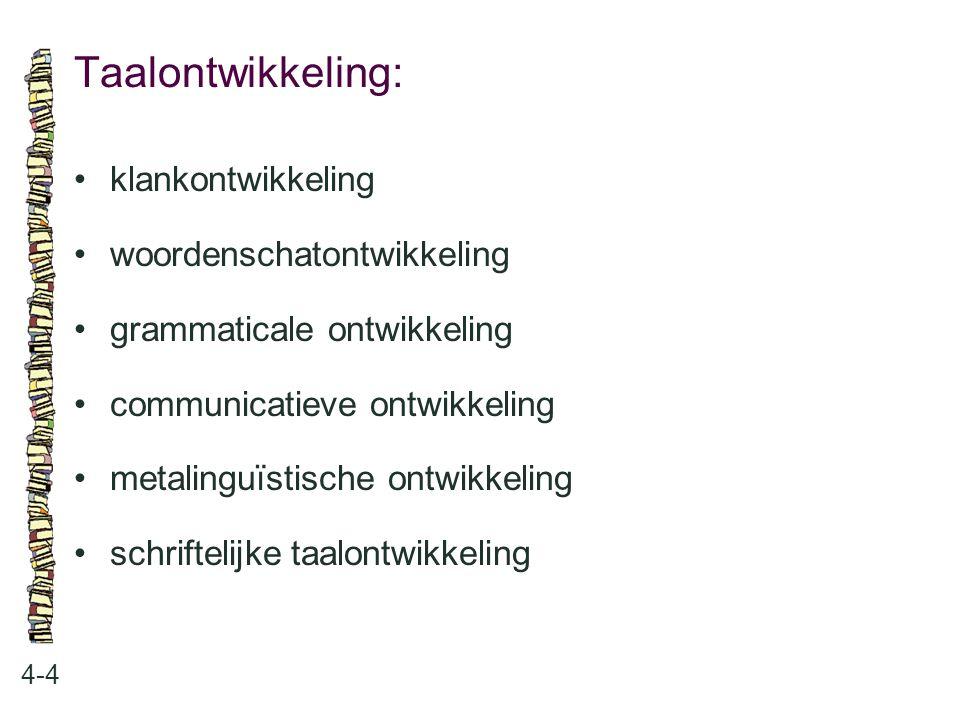 Taalontwikkeling: 4-4 klankontwikkeling woordenschatontwikkeling grammaticale ontwikkeling communicatieve ontwikkeling metalinguïstische ontwikkeling