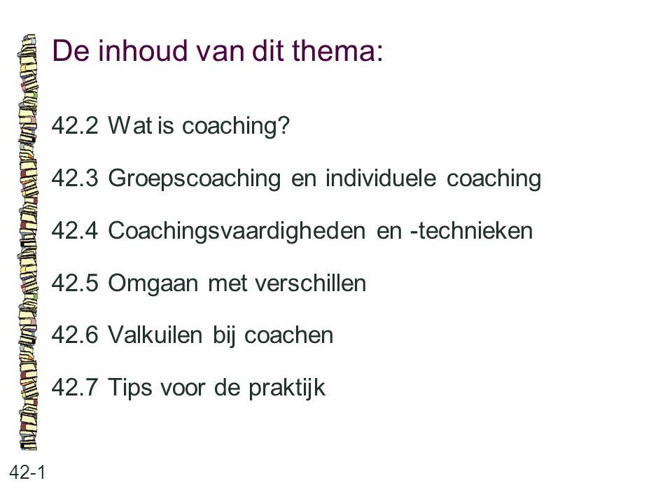 De inhoud van dit thema: 42-1 42.2Wat is coaching? 42.3 Groepscoaching en individuele coaching 42.4 Coachingsvaardigheden en -technieken 42.5 Omgaan m