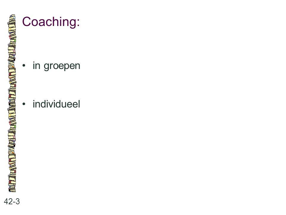 Coaching: 42-3 in groepen individueel