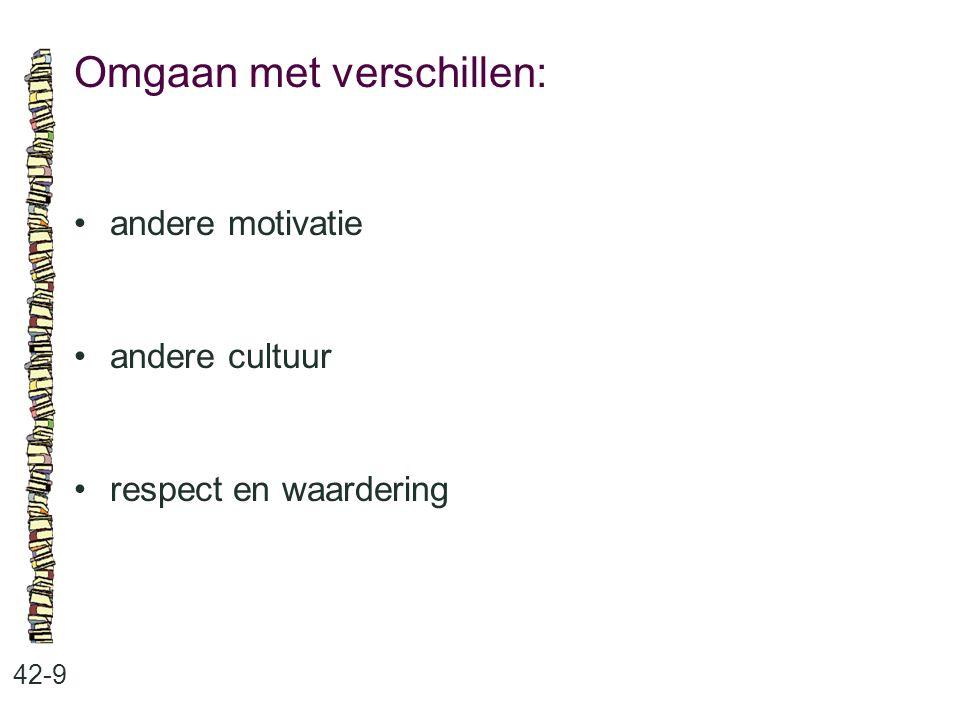 Omgaan met verschillen: 42-9 andere motivatie andere cultuur respect en waardering