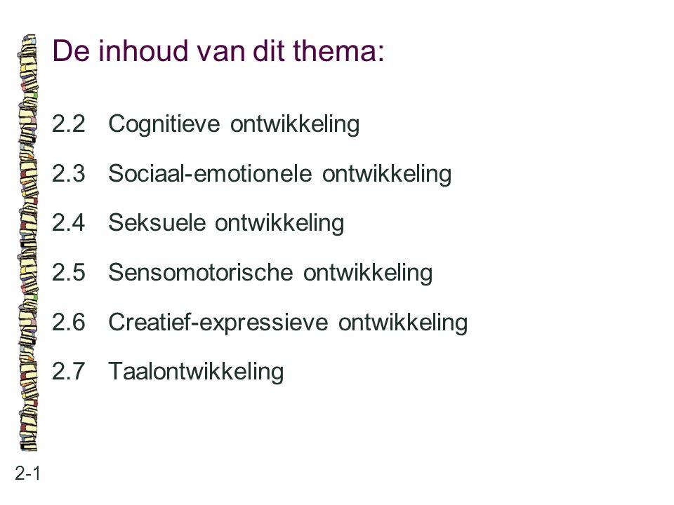 De inhoud van dit thema: 2-1 2.2Cognitieve ontwikkeling 2.3Sociaal-emotionele ontwikkeling 2.4Seksuele ontwikkeling 2.5Sensomotorische ontwikkeling 2.