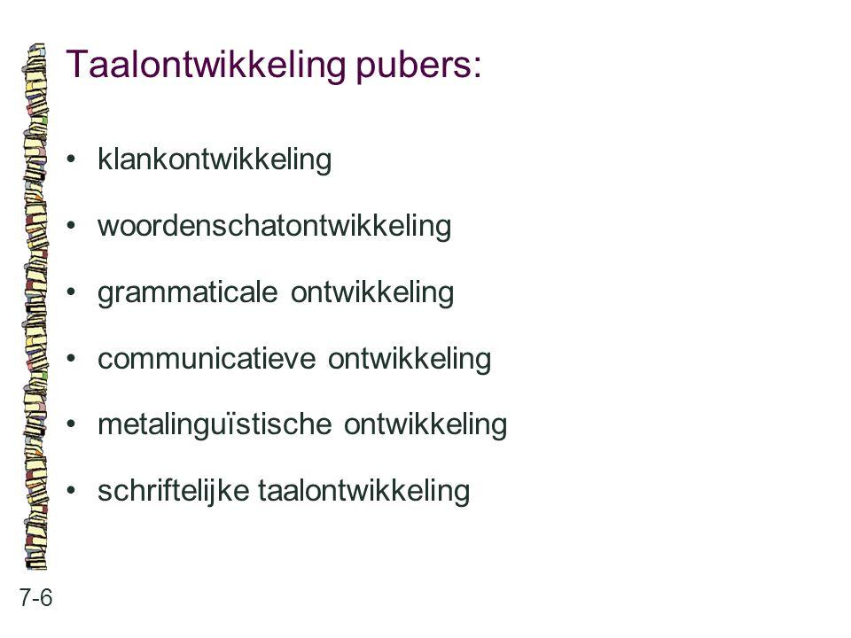 Taalontwikkeling pubers: 7-6 klankontwikkeling woordenschatontwikkeling grammaticale ontwikkeling communicatieve ontwikkeling metalinguïstische ontwik