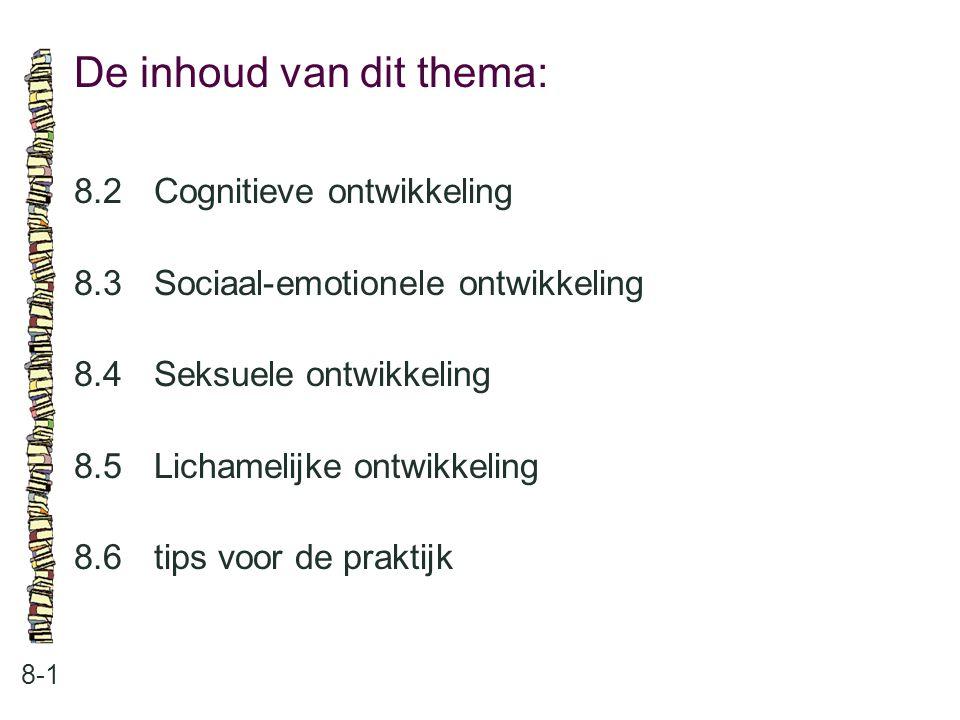 De inhoud van dit thema: 8-1 8.2Cognitieve ontwikkeling 8.3Sociaal-emotionele ontwikkeling 8.4Seksuele ontwikkeling 8.5Lichamelijke ontwikkeling 8.6ti
