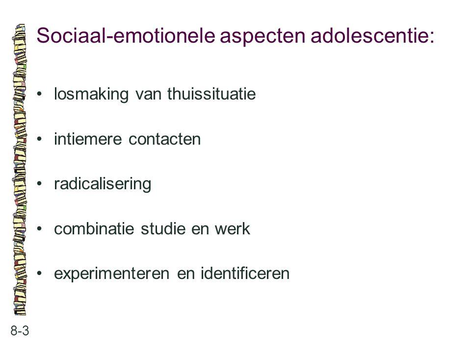 Sociaal-emotionele aspecten adolescentie: 8-3 losmaking van thuissituatie intiemere contacten radicalisering combinatie studie en werk experimenteren