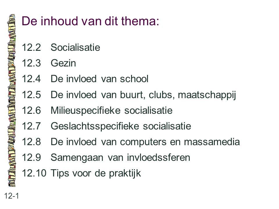 De inhoud van dit thema: 12-1 12.2 Socialisatie 12.3 Gezin 12.4 De invloed van school 12.5 De invloed van buurt, clubs, maatschappij 12.6 Milieuspecif