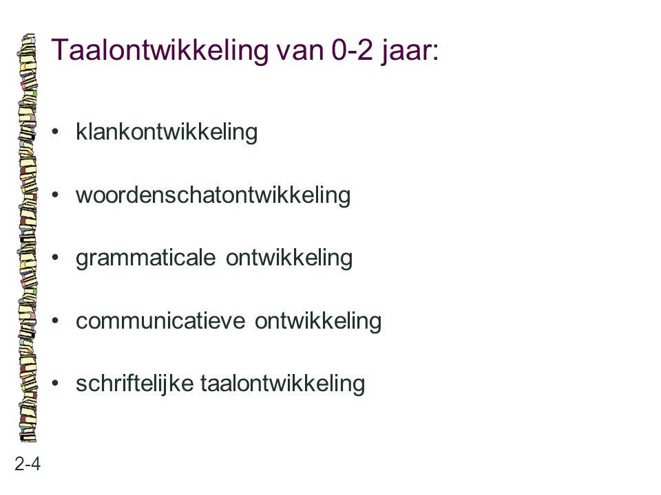 Taalontwikkeling van 0-2 jaar: 2-4 klankontwikkeling woordenschatontwikkeling grammaticale ontwikkeling communicatieve ontwikkeling schriftelijke taal