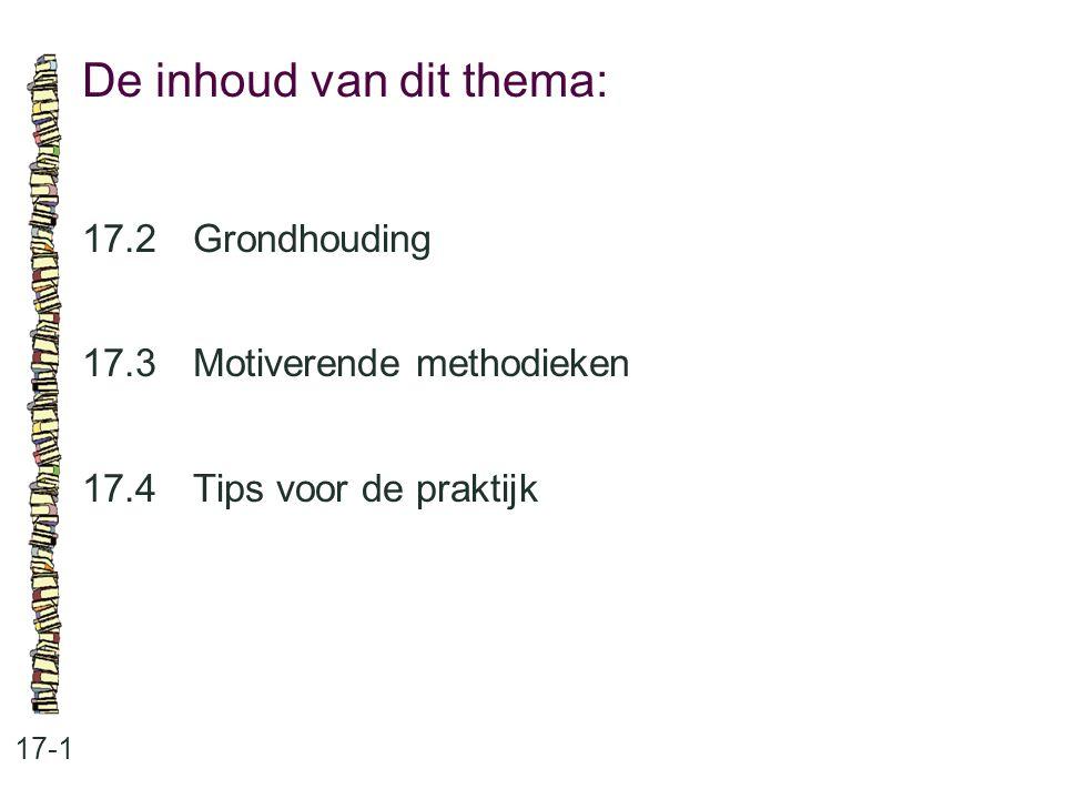 De inhoud van dit thema: 17-1 17.2 Grondhouding 17.3 Motiverende methodieken 17.4 Tips voor de praktijk
