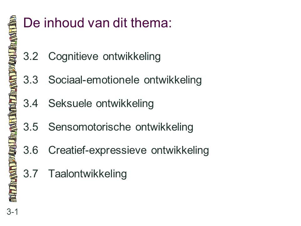 De inhoud van dit thema: 3-1 3.2Cognitieve ontwikkeling 3.3 Sociaal-emotionele ontwikkeling 3.4 Seksuele ontwikkeling 3.5 Sensomotorische ontwikkeling
