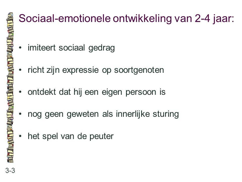 Sociaal-emotionele ontwikkeling van 2-4 jaar: 3-3 imiteert sociaal gedrag richt zijn expressie op soortgenoten ontdekt dat hij een eigen persoon is no
