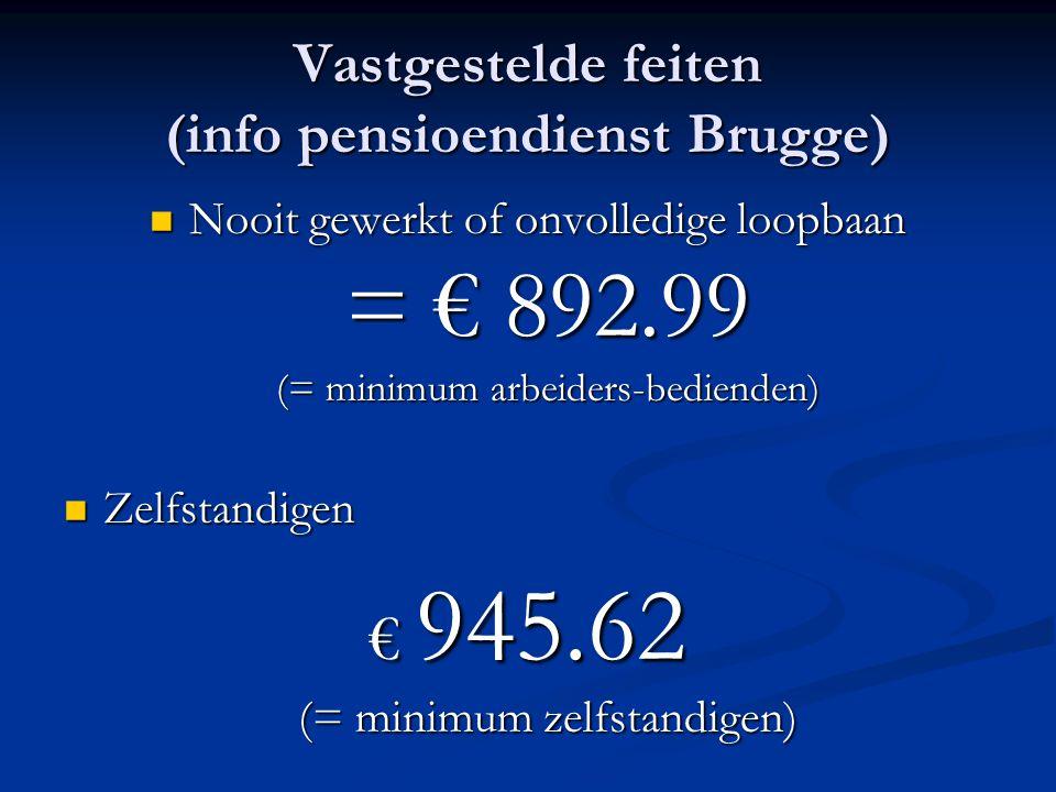 Vastgestelde feiten (info pensioendienst Brugge) Nooit gewerkt of onvolledige loopbaan = € 892.99 (= minimum arbeiders-bedienden) Nooit gewerkt of onv