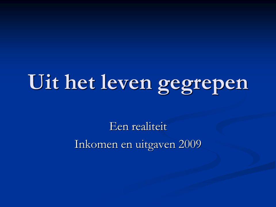 Uit het leven gegrepen Een realiteit Inkomen en uitgaven 2009