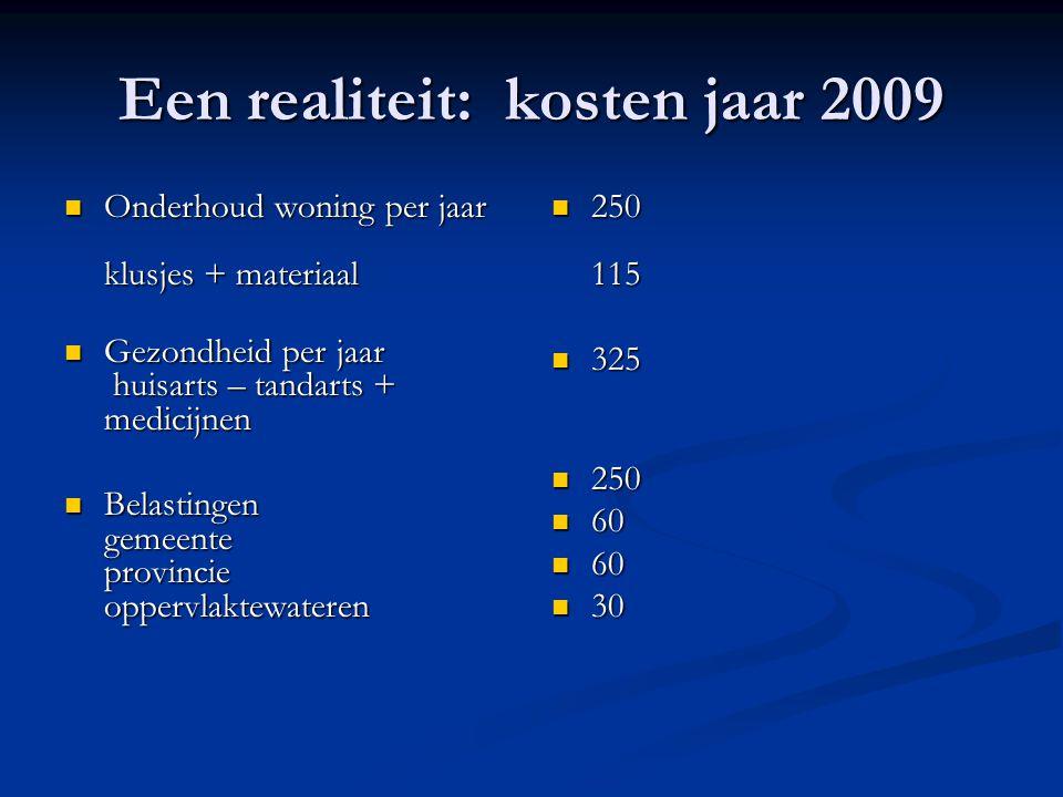 Een realiteit: kosten jaar 2009 Onderhoud woning per jaar klusjes + materiaal Onderhoud woning per jaar klusjes + materiaal Gezondheid per jaar huisar
