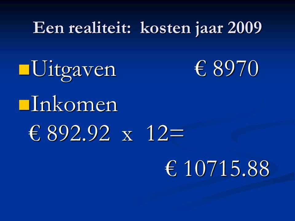 Een realiteit: kosten jaar 2009 Uitgaven € 8970 Uitgaven € 8970 Inkomen € 892.92 x 12= Inkomen € 892.92 x 12= € 10715.88