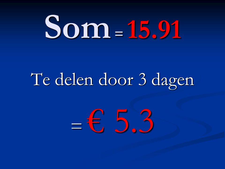 Som = 15.91 Te delen door 3 dagen = € 5.3