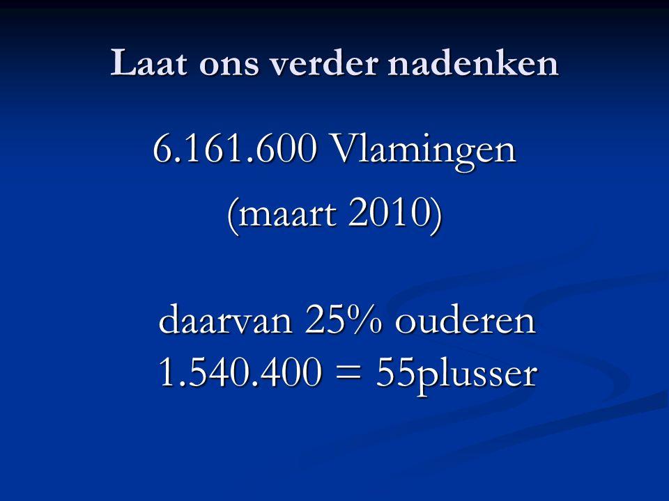 Laat ons verder nadenken 6.161.600 Vlamingen (maart 2010) daarvan 25% ouderen 1.540.400 = 55plusser