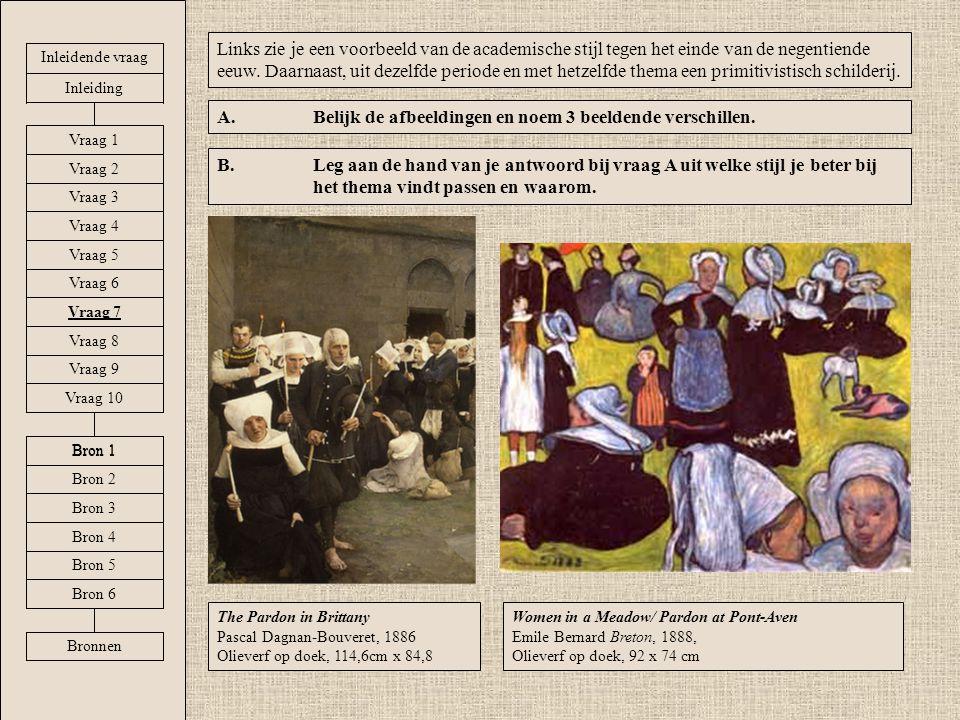 Women in a Meadow/ Pardon at Pont-Aven Emile Bernard Breton, 1888, Olieverf op doek, 92 x 74 cm Links zie je een voorbeeld van de academische stijl te