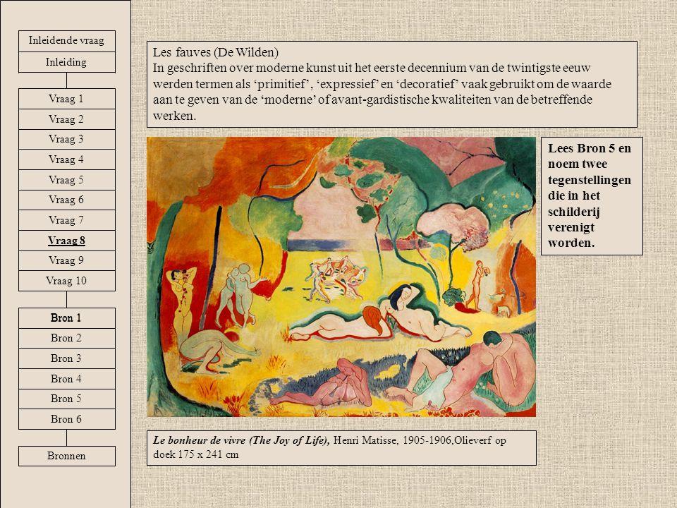 Le bonheur de vivre (The Joy of Life), Henri Matisse, 1905-1906,Olieverf op doek 175 x 241 cm Les fauves (De Wilden) In geschriften over moderne kunst uit het eerste decennium van de twintigste eeuw werden termen als 'primitief', 'expressief' en 'decoratief' vaak gebruikt om de waarde aan te geven van de 'moderne' of avant-gardistische kwaliteiten van de betreffende werken.