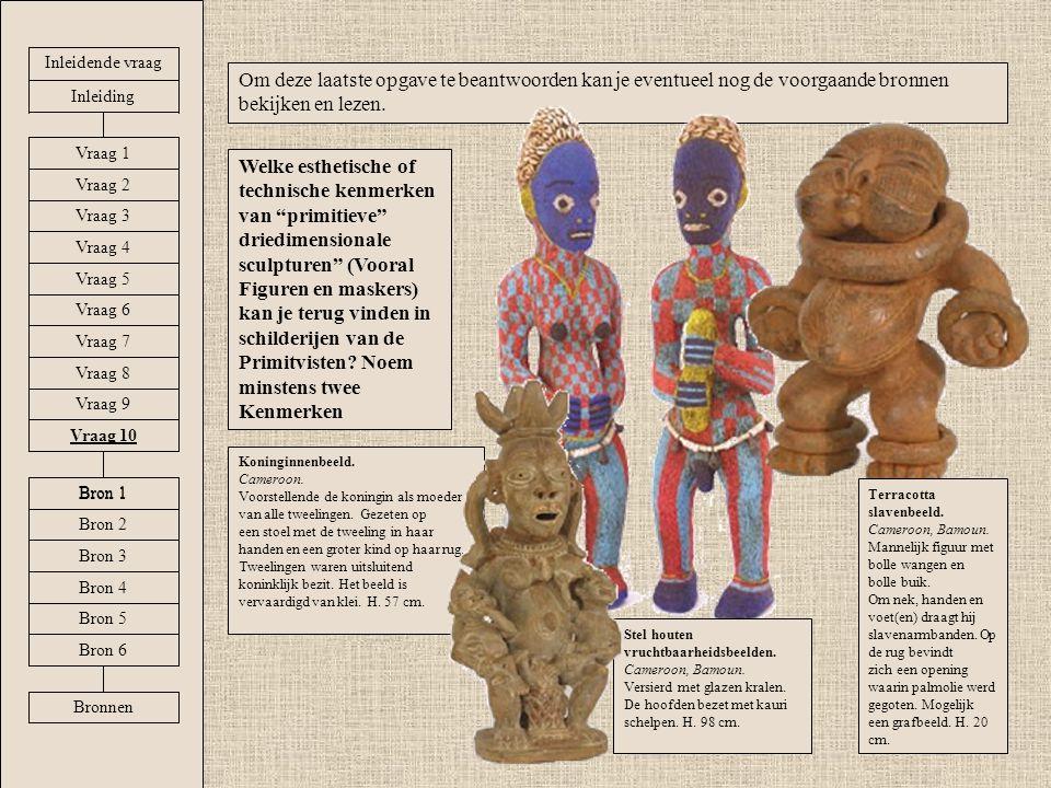 Welke esthetische of technische kenmerken van primitieve driedimensionale sculpturen (Vooral Figuren en maskers) kan je terug vinden in schilderijen van de Primitvisten.