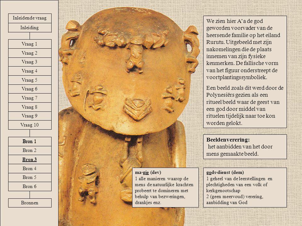 We zien hier A'a de god geworden voorvader van de heersende familie op het eiland Rurutu. Uitgebeeld met zijn nakomelingen die de plaats innemen van z