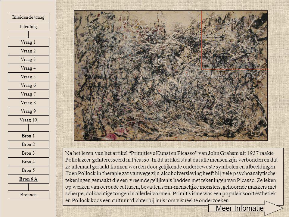 """Na het lezen van het artikel """"Primitieve Kunst en Picasso"""" van John Graham uit 1937 raakte Pollok zeer geïnteresseerd in Picasso. In dit artikel staat"""