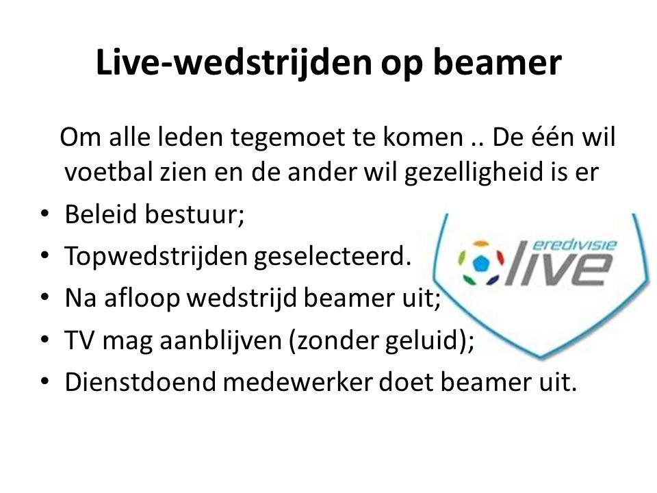 Live-wedstrijden op beamer Om alle leden tegemoet te komen.. De één wil voetbal zien en de ander wil gezelligheid is er Beleid bestuur; Topwedstrijden