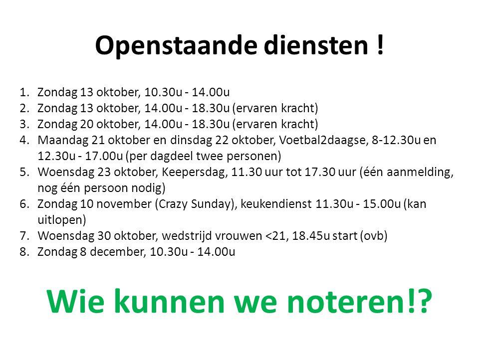 Openstaande diensten ! 1.Zondag 13 oktober, 10.30u - 14.00u 2.Zondag 13 oktober, 14.00u - 18.30u (ervaren kracht) 3.Zondag 20 oktober, 14.00u - 18.30u