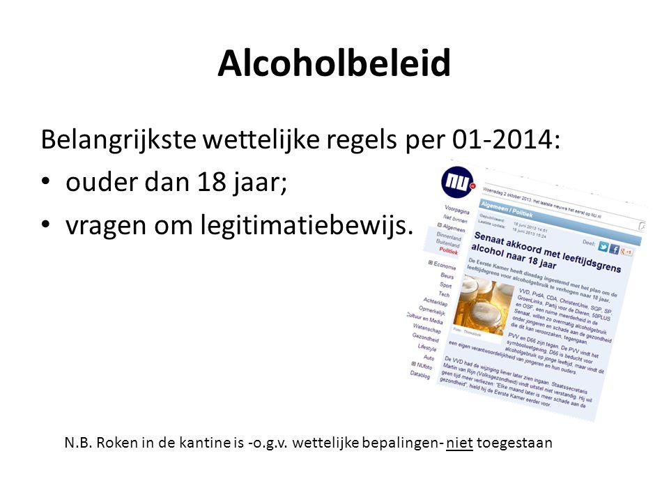 Alcoholbeleid Belangrijkste wettelijke regels per 01-2014: ouder dan 18 jaar; vragen om legitimatiebewijs. N.B. Roken in de kantine is -o.g.v. wetteli