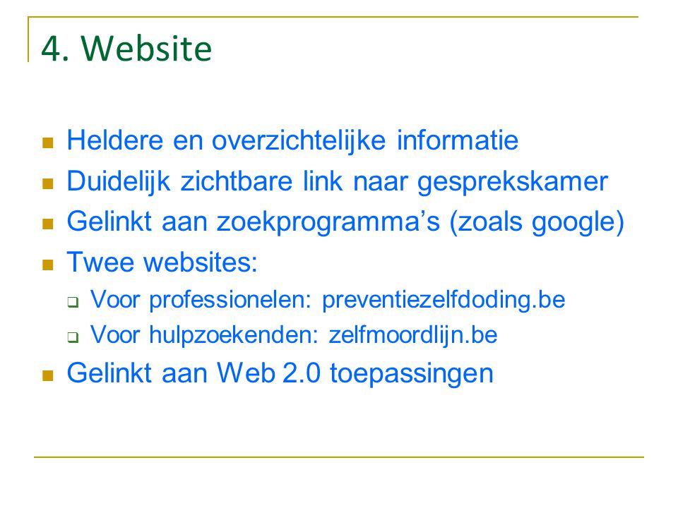 4. Website Heldere en overzichtelijke informatie Duidelijk zichtbare link naar gesprekskamer Gelinkt aan zoekprogramma's (zoals google) Twee websites: