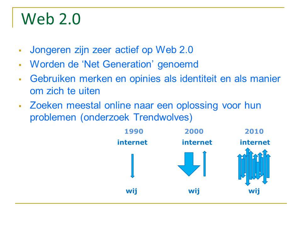 Web 2.0  Jongeren zijn zeer actief op Web 2.0  Worden de 'Net Generation' genoemd  Gebruiken merken en opinies als identiteit en als manier om zich