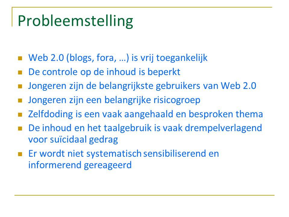 Probleemstelling Web 2.0 (blogs, fora, …) is vrij toegankelijk De controle op de inhoud is beperkt Jongeren zijn de belangrijkste gebruikers van Web 2