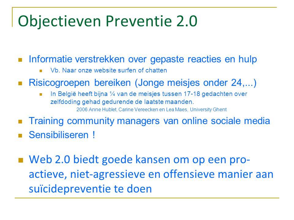 Objectieven Preventie 2.0 Informatie verstrekken over gepaste reacties en hulp Vb. Naar onze website surfen of chatten Risicogroepen bereiken (Jonge m