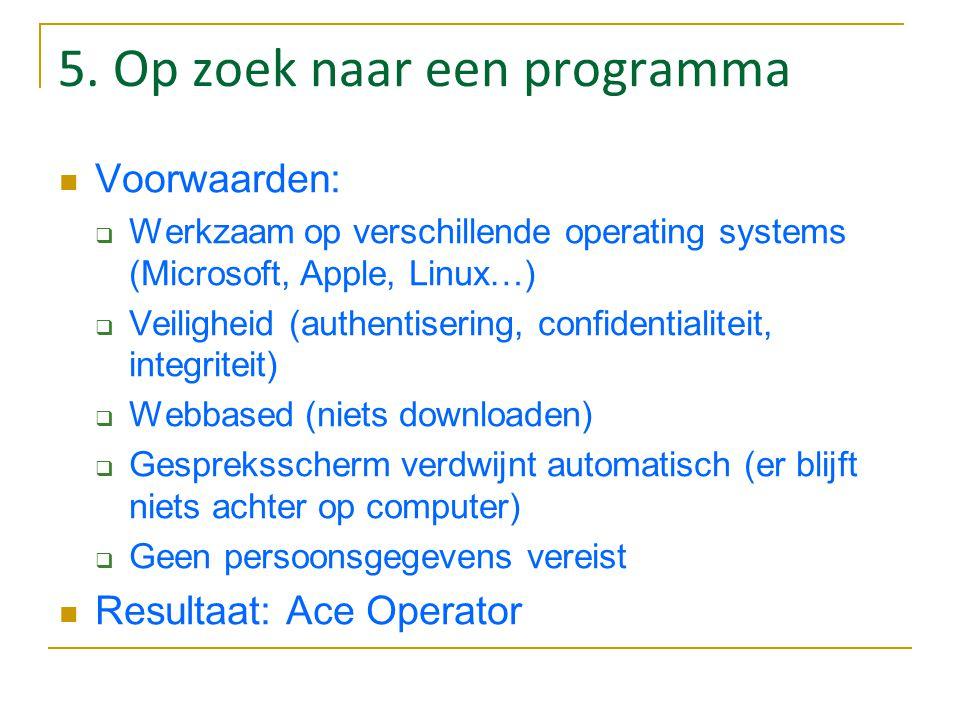 5. Op zoek naar een programma Voorwaarden:  Werkzaam op verschillende operating systems (Microsoft, Apple, Linux…)  Veiligheid (authentisering, conf
