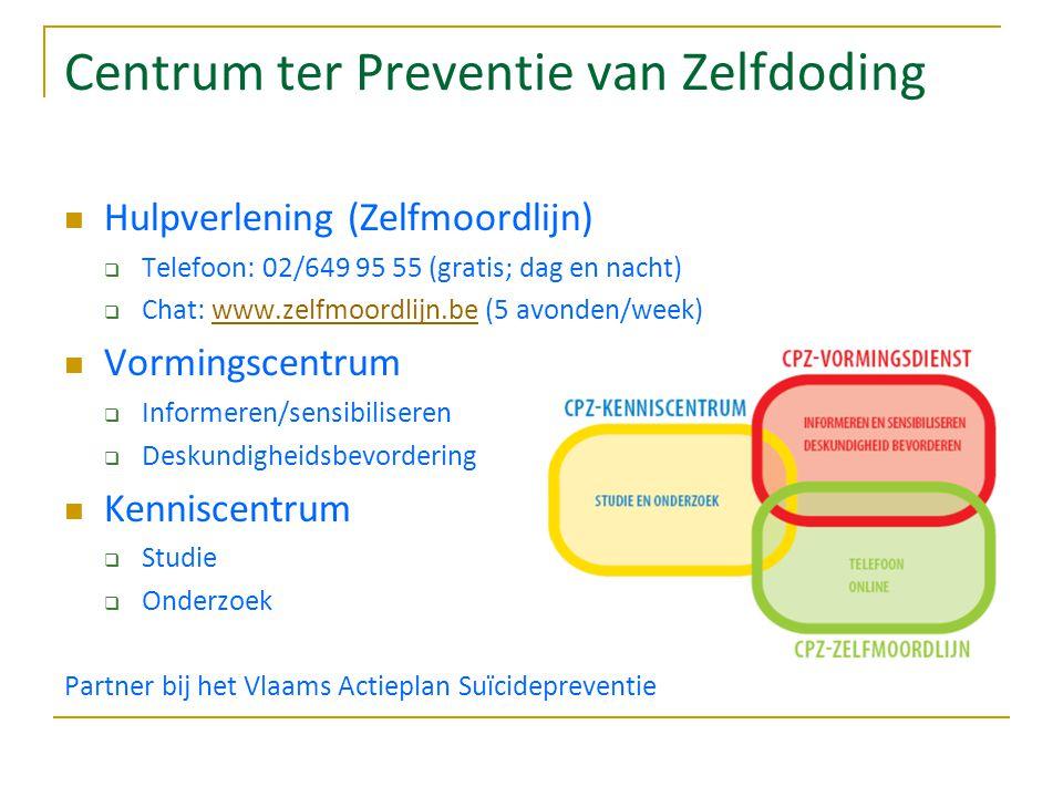 Centrum ter Preventie van Zelfdoding Hulpverlening (Zelfmoordlijn)  Telefoon: 02/649 95 55 (gratis; dag en nacht)  Chat: www.zelfmoordlijn.be (5 av