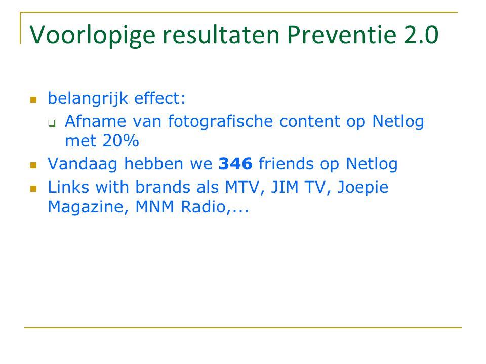 Voorlopige resultaten Preventie 2.0 belangrijk effect:  Afname van fotografische content op Netlog met 20% Vandaag hebben we 346 friends op Netlog Li