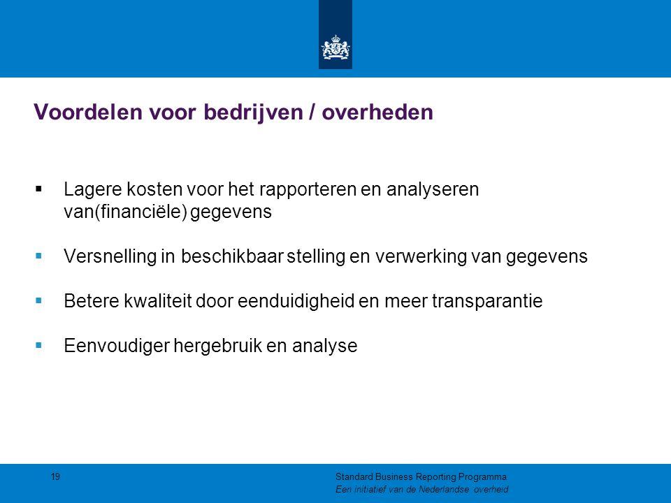 Voordelen voor bedrijven / overheden  Lagere kosten voor het rapporteren en analyseren van(financiële) gegevens  Versnelling in beschikbaar stelling