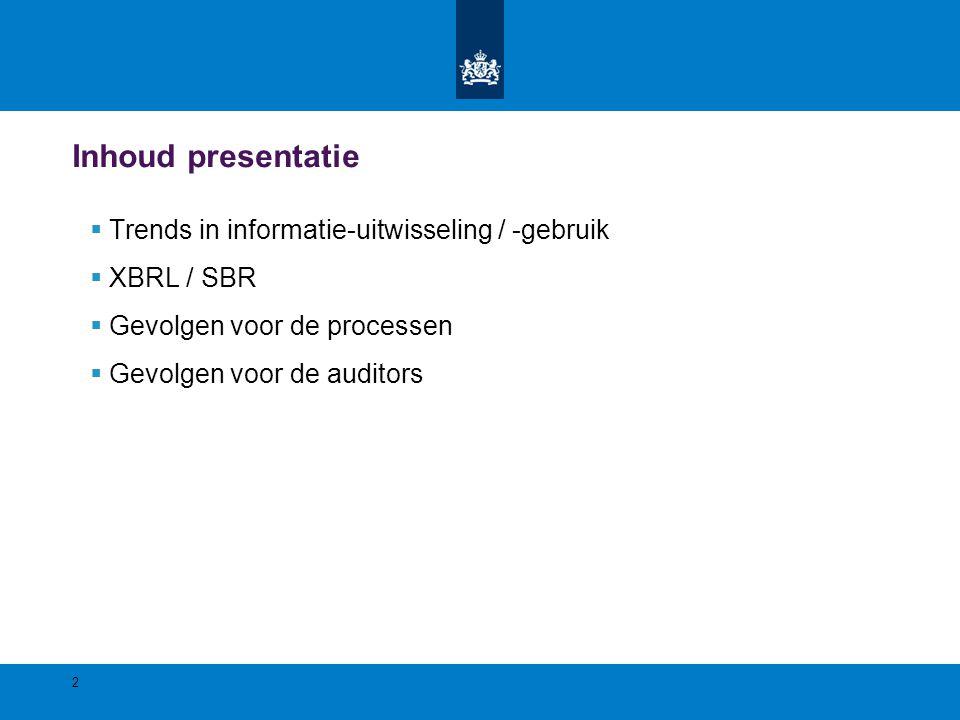 Inhoud presentatie  Trends in informatie-uitwisseling / -gebruik  XBRL / SBR  Gevolgen voor de processen  Gevolgen voor de auditors 2