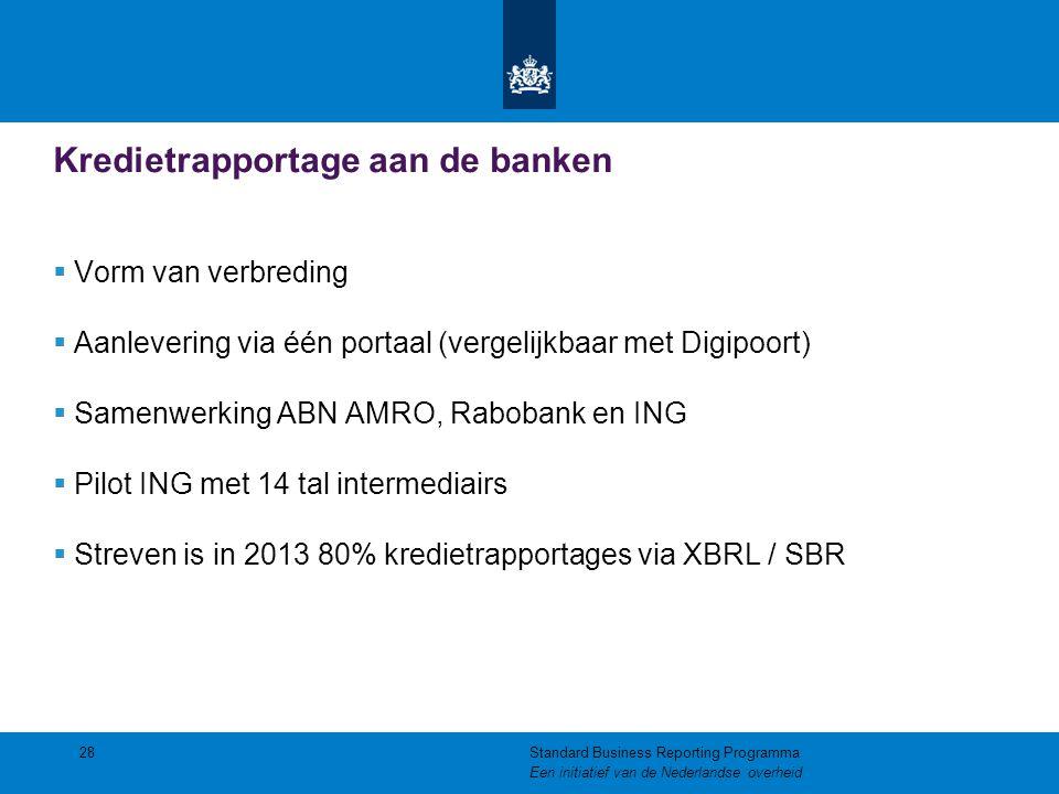 Kredietrapportage aan de banken  Vorm van verbreding  Aanlevering via één portaal (vergelijkbaar met Digipoort)  Samenwerking ABN AMRO, Rabobank en