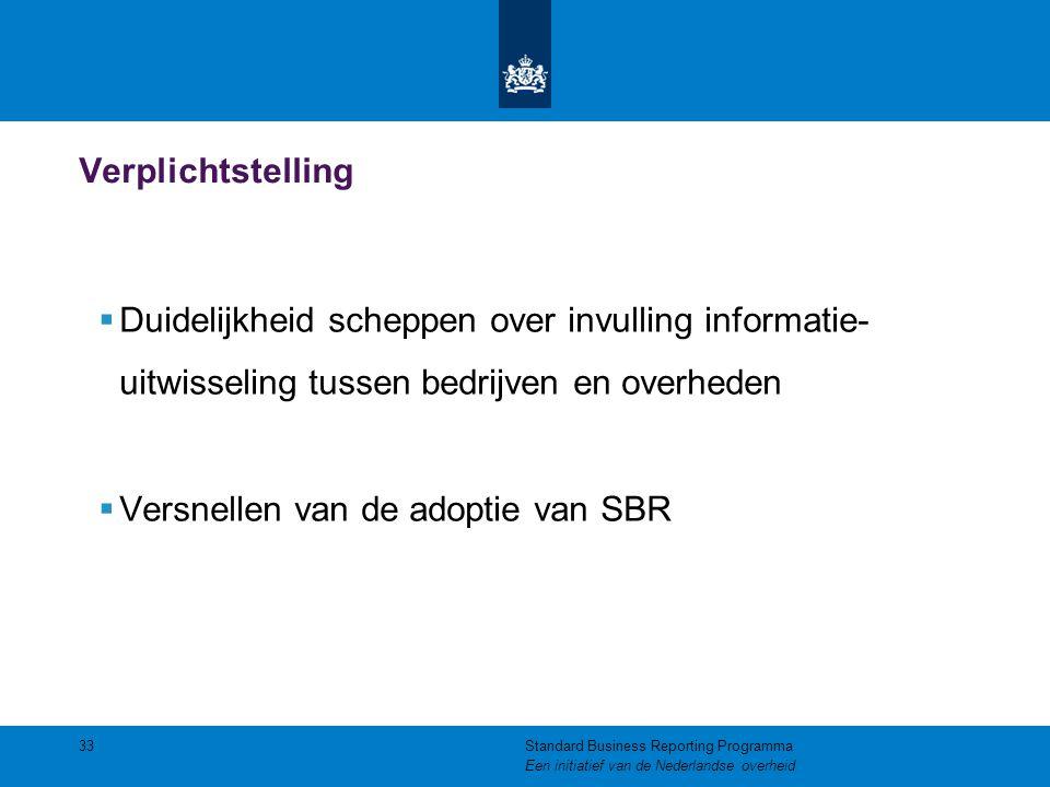 Verplichtstelling  Duidelijkheid scheppen over invulling informatie- uitwisseling tussen bedrijven en overheden  Versnellen van de adoptie van SBR 3