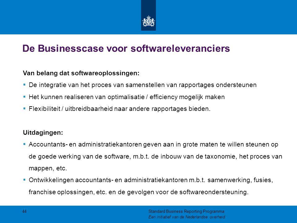 De Businesscase voor softwareleveranciers 44 Van belang dat softwareoplossingen:  De integratie van het proces van samenstellen van rapportages onder